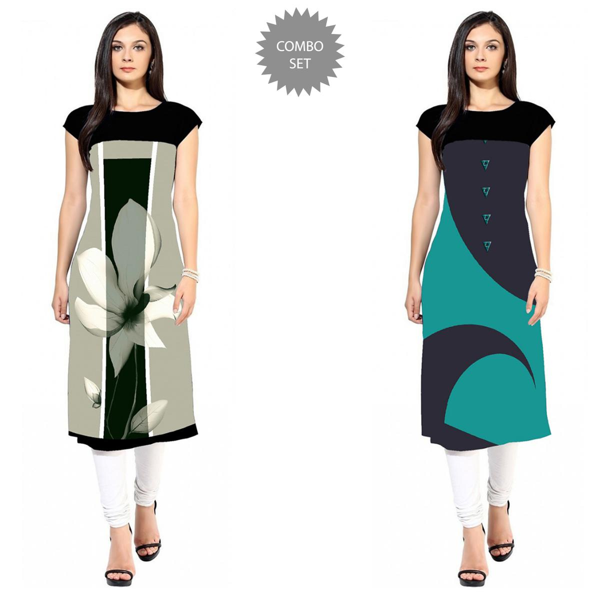 Eye-catching Colored Casual Printed Crepe Kurti - Pack of 2