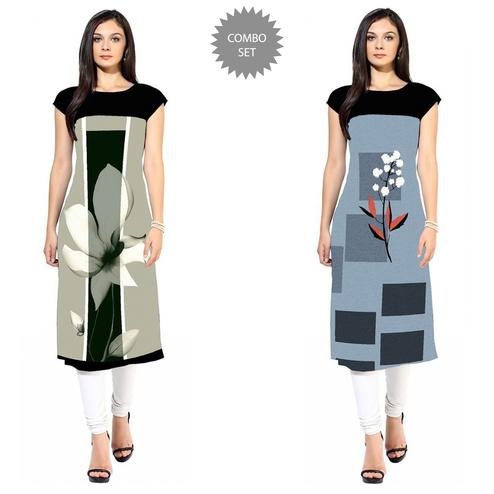 Fantastic Colored Casual Printed Crepe Kurti - Pack of 2