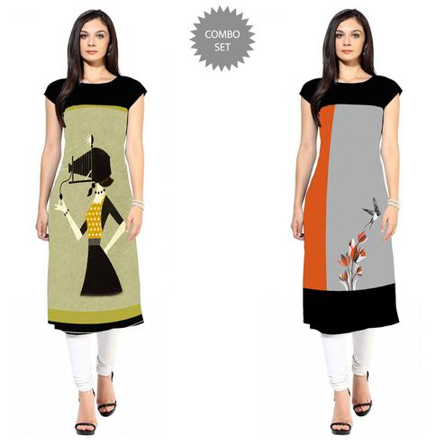 Amazing Colored Casual Printed Crepe Kurti - Pack of 2