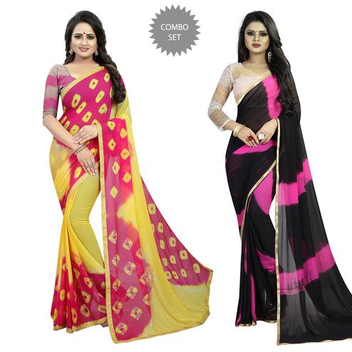 Sophisticated Casual Printed Chiffon Saree - Pack of 2