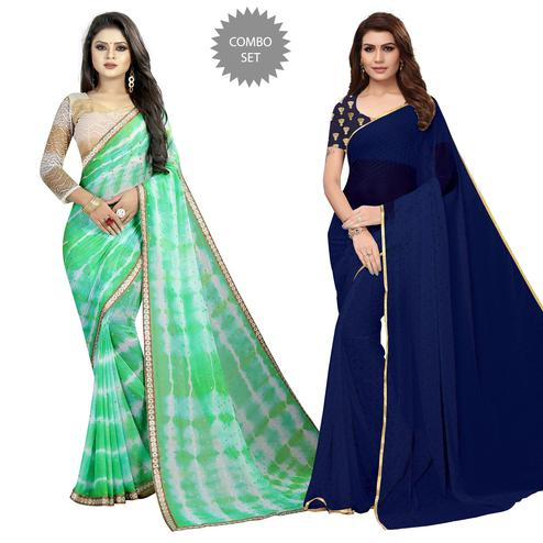 Elegant Partywear Printed Chiffon Saree - Pack of 2
