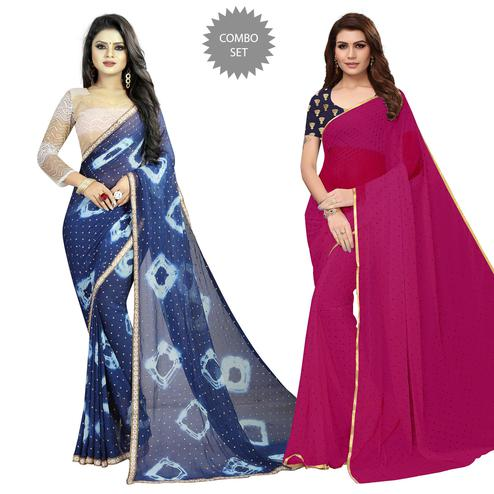 Pleasant Partywear Printed Chiffon Saree - Pack of 2