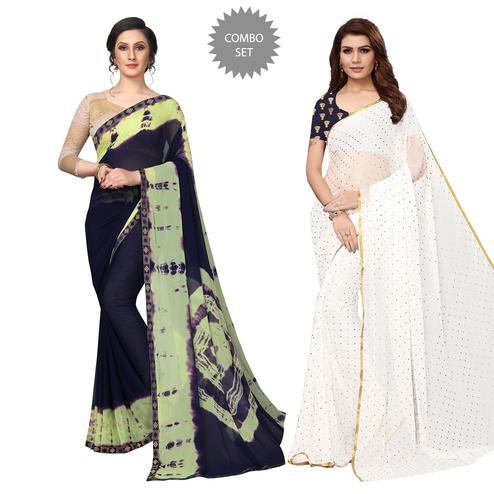 Opulent Semi Partywear Printed Chiffon Saree - Pack of 2