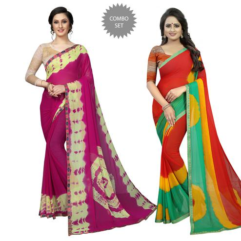 Exceptional Casual Printed Chiffon Saree - Pack of 2