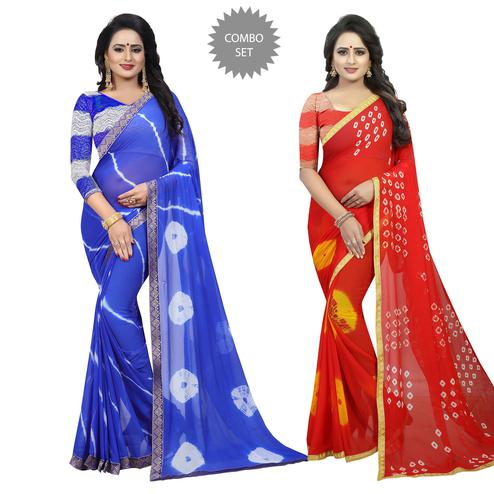 Unique Casual Printed Chiffon Saree - Pack of 2