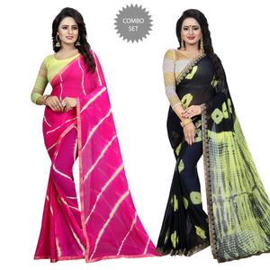 Demanding Casual Printed Chiffon Saree - Pack of 2