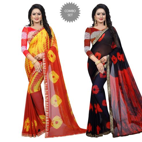 Magnetic Casual Printed Chiffon Saree - Pack of 2