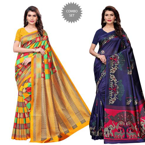 Staring Casual Printed Art Silk Saree - Pack of 2