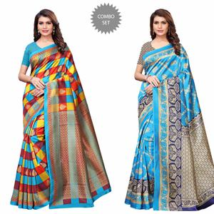 Ravishing Casual Printed Art Silk Saree - Pack of 2