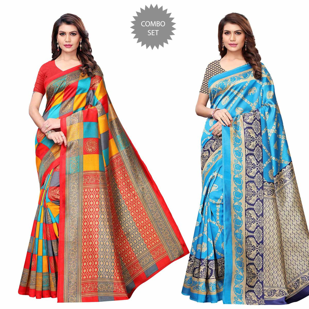 Breathtaking Casual Printed Art Silk Saree - Pack of 2