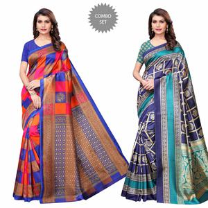 Impressive Casual Printed Art Silk Saree - Pack of 2