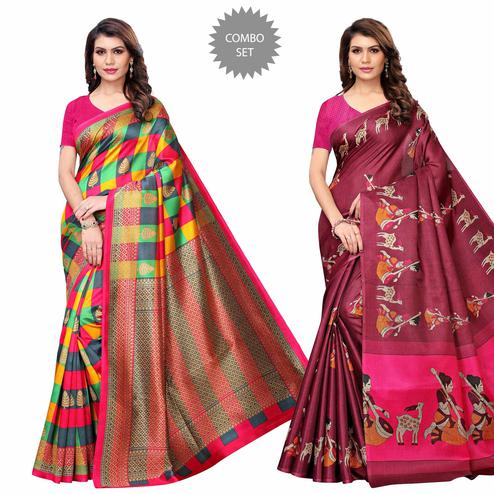 Lovely Casual Printed Art Silk Saree - Pack of 2