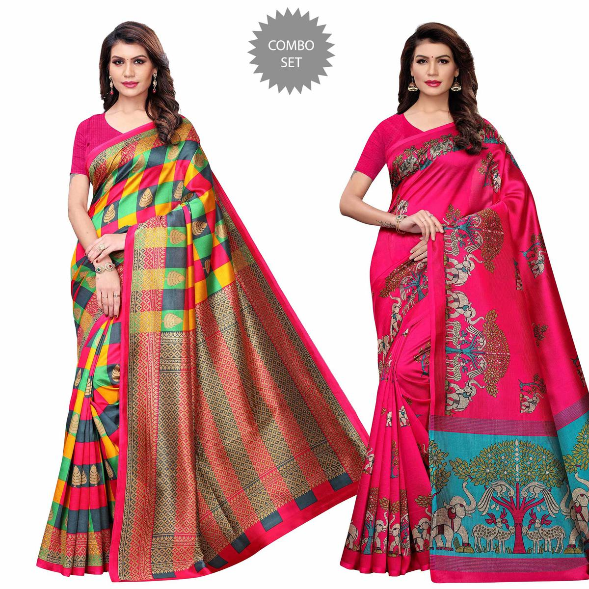 Imposing Casual Printed Art Silk Saree - Pack of 2