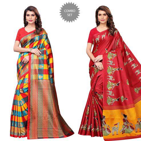 Ideal Casual Printed Art Silk Saree - Pack of 2