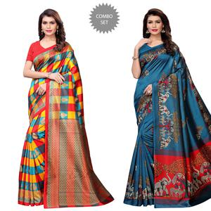 Blissful Casual Printed Art Silk Saree - Pack of 2