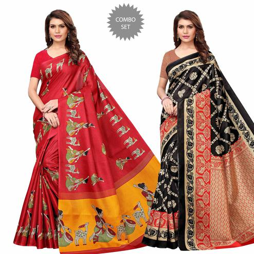 Fantastic Casual Printed Art Silk Saree - Pack of 2