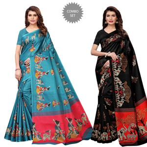 Eye-catching Casual Printed Art Silk Saree - Pack of 2