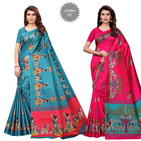 Innovative Casual Printed Art Silk Saree - Pack of 2