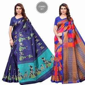 Engrossing Casual Printed Art Silk Saree - Pack of 2