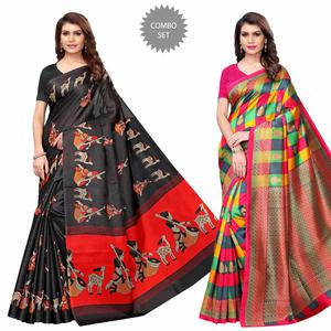 Delightful Casual Printed Art Silk Saree - Pack of 2