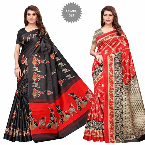 Jazzy Casual Printed Art Silk Saree - Pack of 2