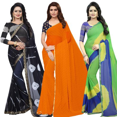 Breathtaking Semi Partywear Printed Chiffon Saree - Pack of 3