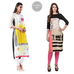 Lovely Printed Casual Wear American Crape Kurtis - Pack of 2