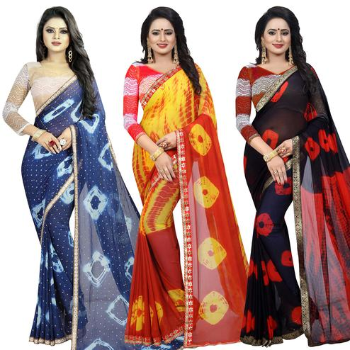 Ravishing Semi Partywear Printed Chiffon Saree - Pack of 3