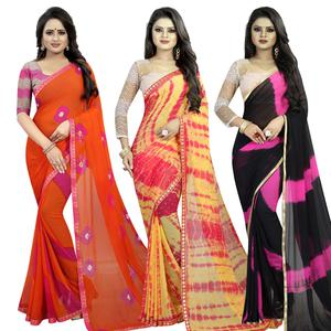 Dazzling Semi Partywear Printed Chiffon Saree - Pack of 3