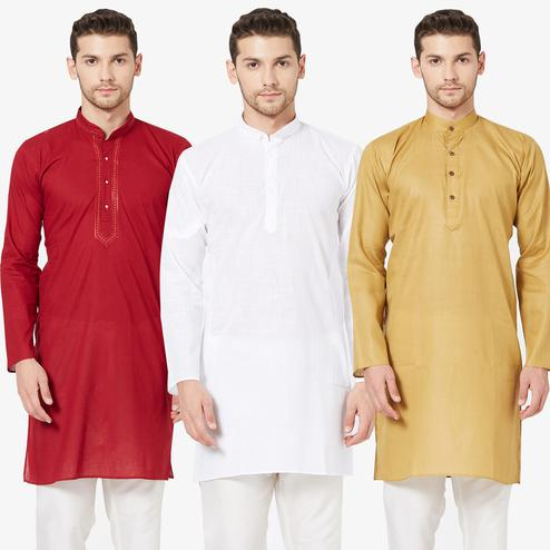 Sophisticated Festive Wear Cotton Kurta - Pack of 3