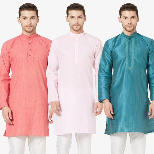 Opulent Festive Wear Cotton Kurta - Pack of 3