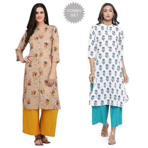Jazzy Casual Printed Rayon-Cotton Kurti - Pack of 2