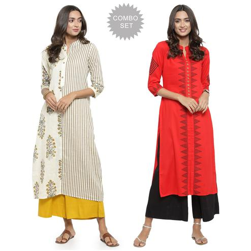 Delightful Casual Printed Cotton-Rayon Kurti - Pack of 2