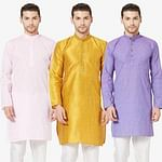 Energetic Festive Wear Cotton Kurta - Pack of 3