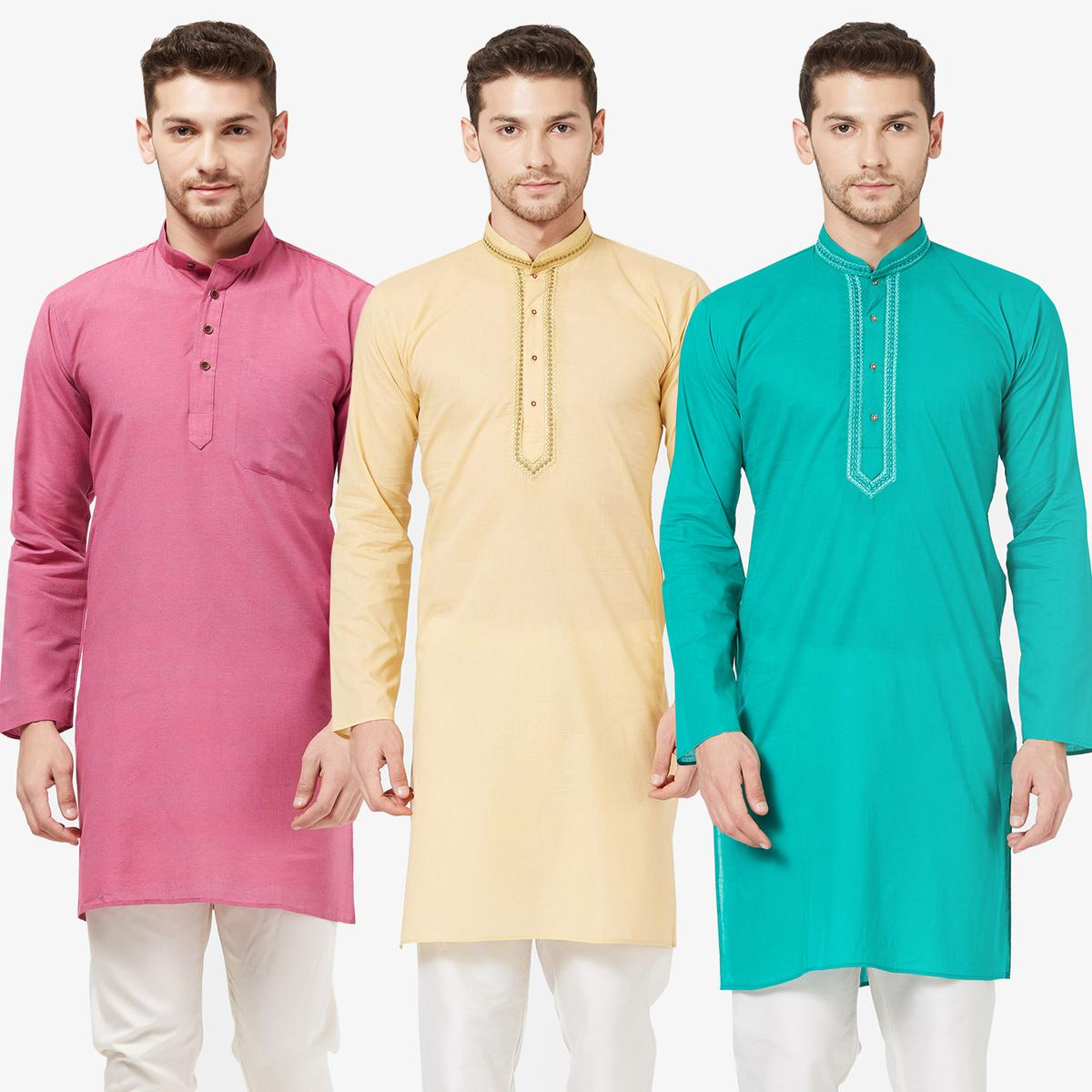 Exceptional Festive Wear Cotton Kurta - Pack of 3
