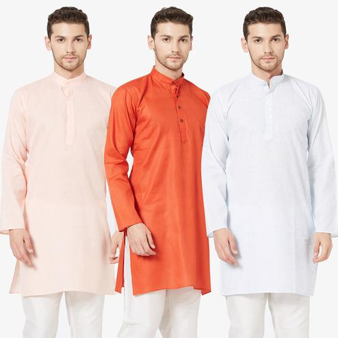 Gleaming Festive Wear Cotton Kurta - Pack of 3
