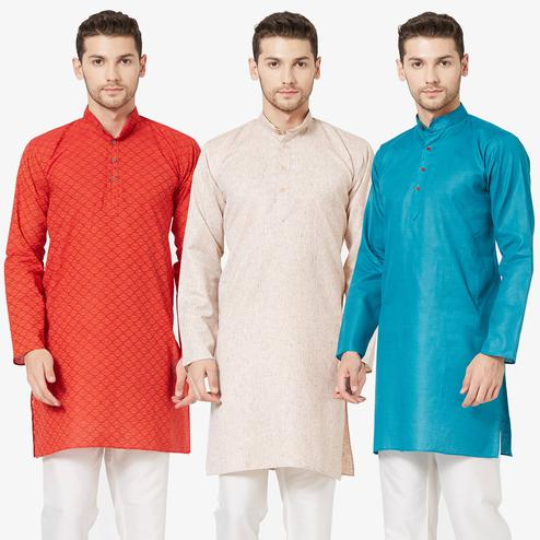 Mesmeric Festive Wear Cotton Kurta - Pack of 3