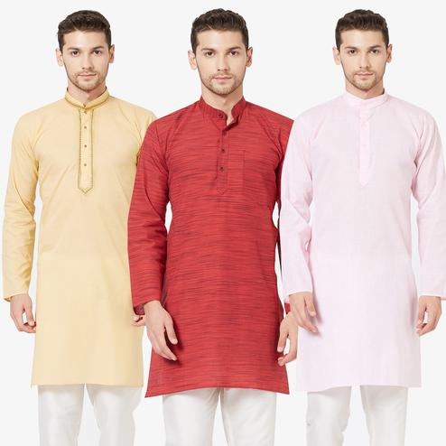 Unique Festive Wear Cotton Kurta - Pack of 3