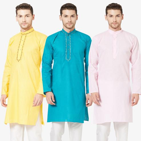Refreshing Festive Wear Cotton Kurta - Pack of 3