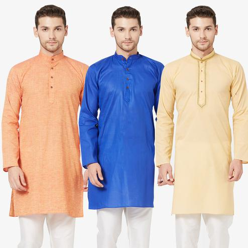 Magnetic Festive Wear Cotton Kurta - Pack of 3