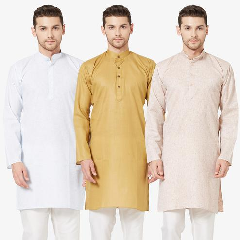 Capricious Festive Wear Cotton Kurta - Pack of 3