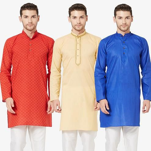 Entrancing Festive Wear Cotton Kurta - Pack of 3