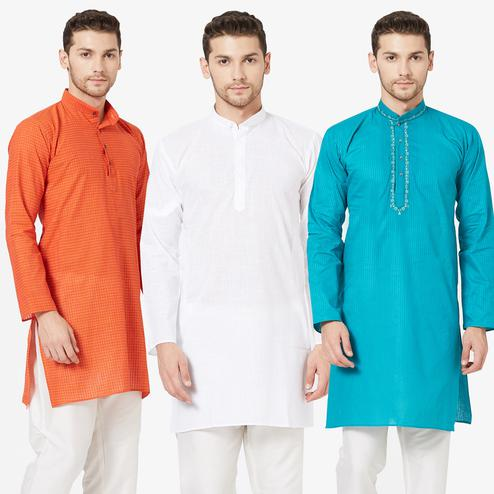 Flirty Festive Wear Cotton Kurta - Pack of 3