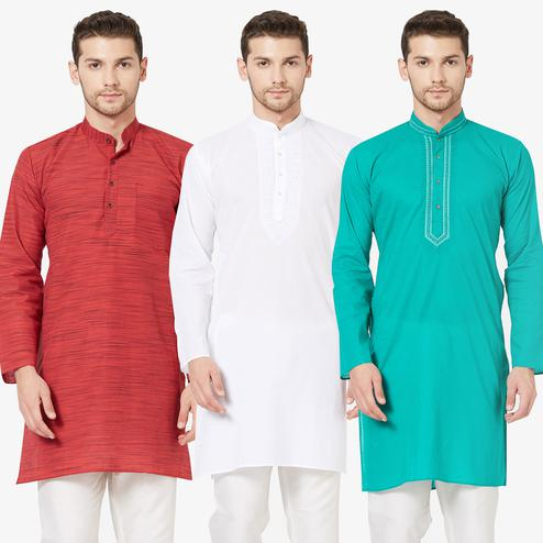 Flaunt Festive Wear Cotton Kurta - Pack of 3