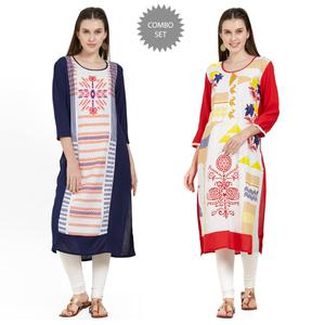Magnetic Casual Wear Printed Rayon Kurti - Pack of 2
