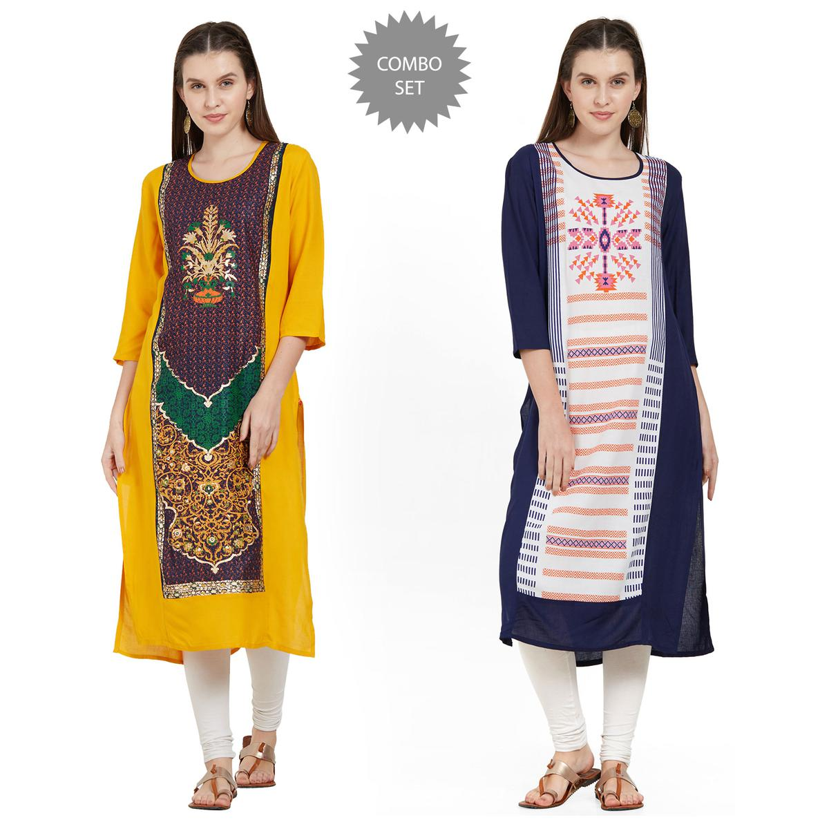 Hypnotic Casual Wear Printed Rayon Kurti - Pack of 2