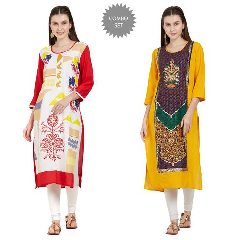 Flattering Casual Wear Printed Rayon Kurti - Pack of 2