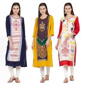 Preferable Casual Wear Printed Rayon Kurti - Pack of 3