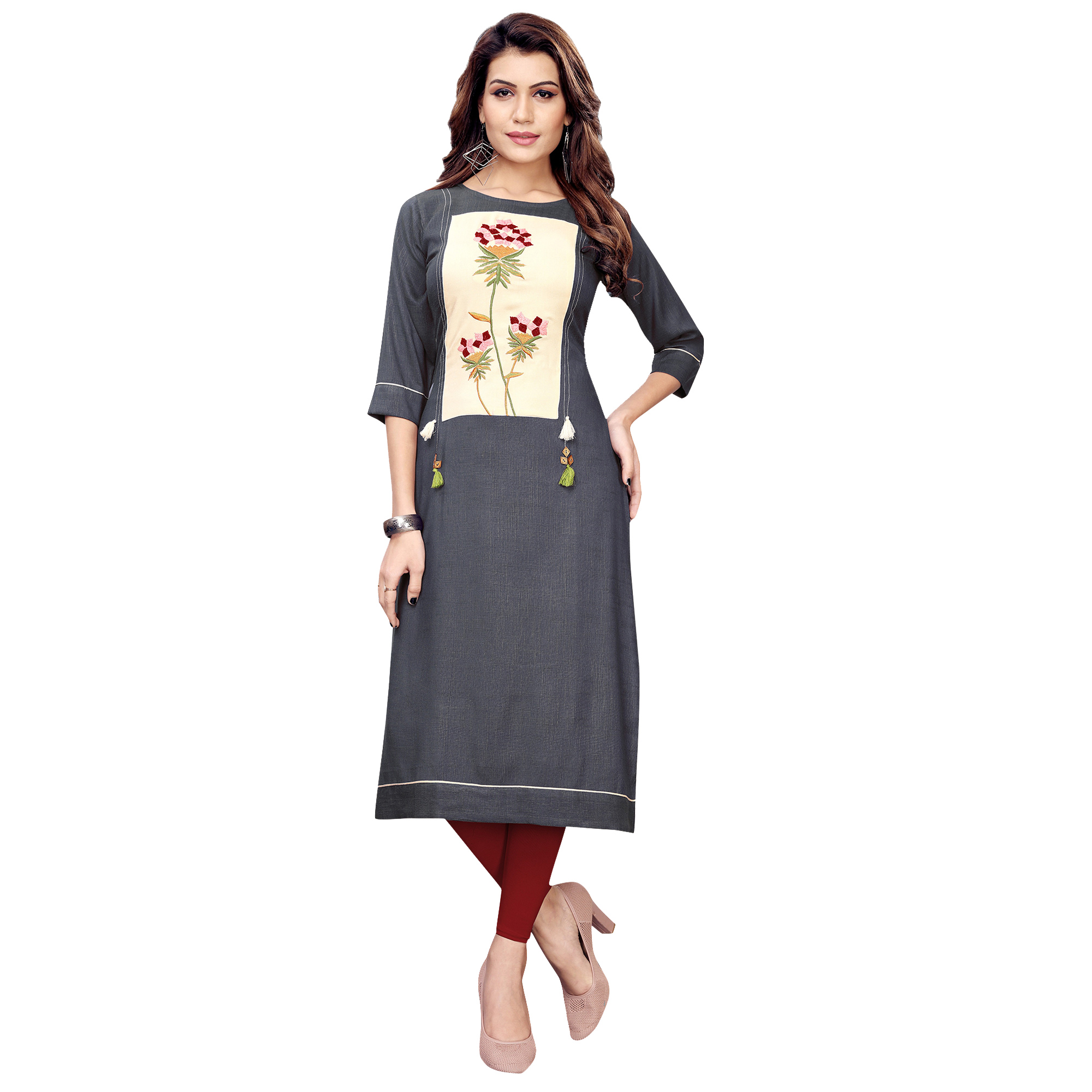 Glorious Partywear Embroidered Rayon Kurti - Pack of 2