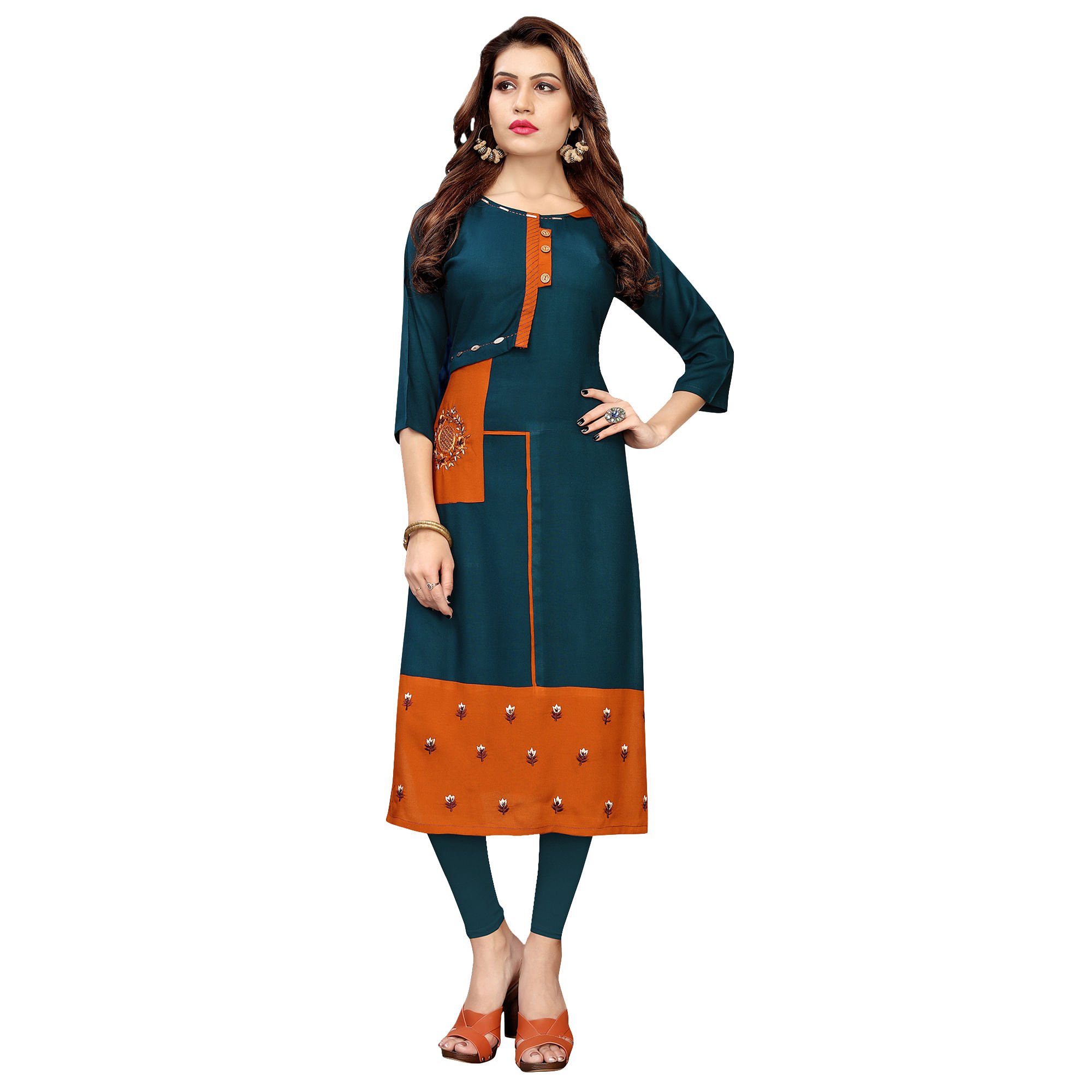 Attractive Partywear Embroidered Rayon Kurti - Pack of 2